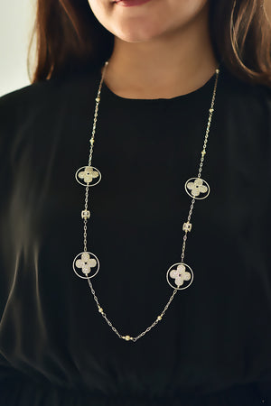 Floral Cubic Zirconia Geometric Necklace Silver Lifestyle