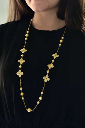 Floral Pearl Necklace (Gold)