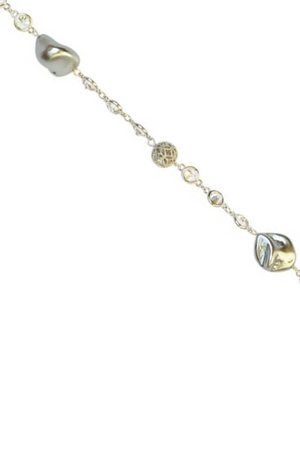 Alia Crystal Necklace(Gold) - Cubic Zirconia, Pearl & Filigree Bead Crystal