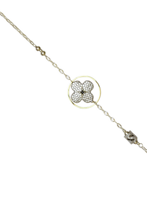 Floral Cubic Zirconia Round Hoop Geometric  Necklace (Gold)