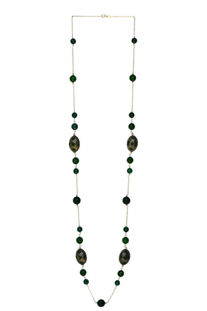 Malak Long Necklace - Sterling Silver Long Beaded