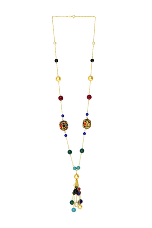 Handcrafted Multicolor 'Dumroo' Bead & Semi-Precious Stones Tassel Necklace