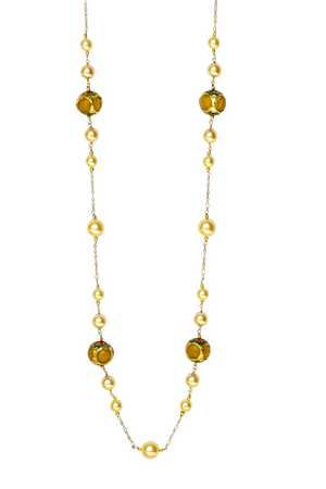 Hala Long Necklace - Handcrafted 'Caged' Bead with Pearls