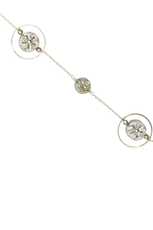 Zora Long Necklace (Loop) - Geometric Embedded Flower