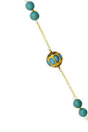 Turquoise & Dumroo Bead Tassel Necklace