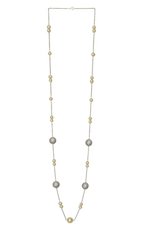 Mira Long Necklace - Cubic Zirconia Ball & White Pearl
