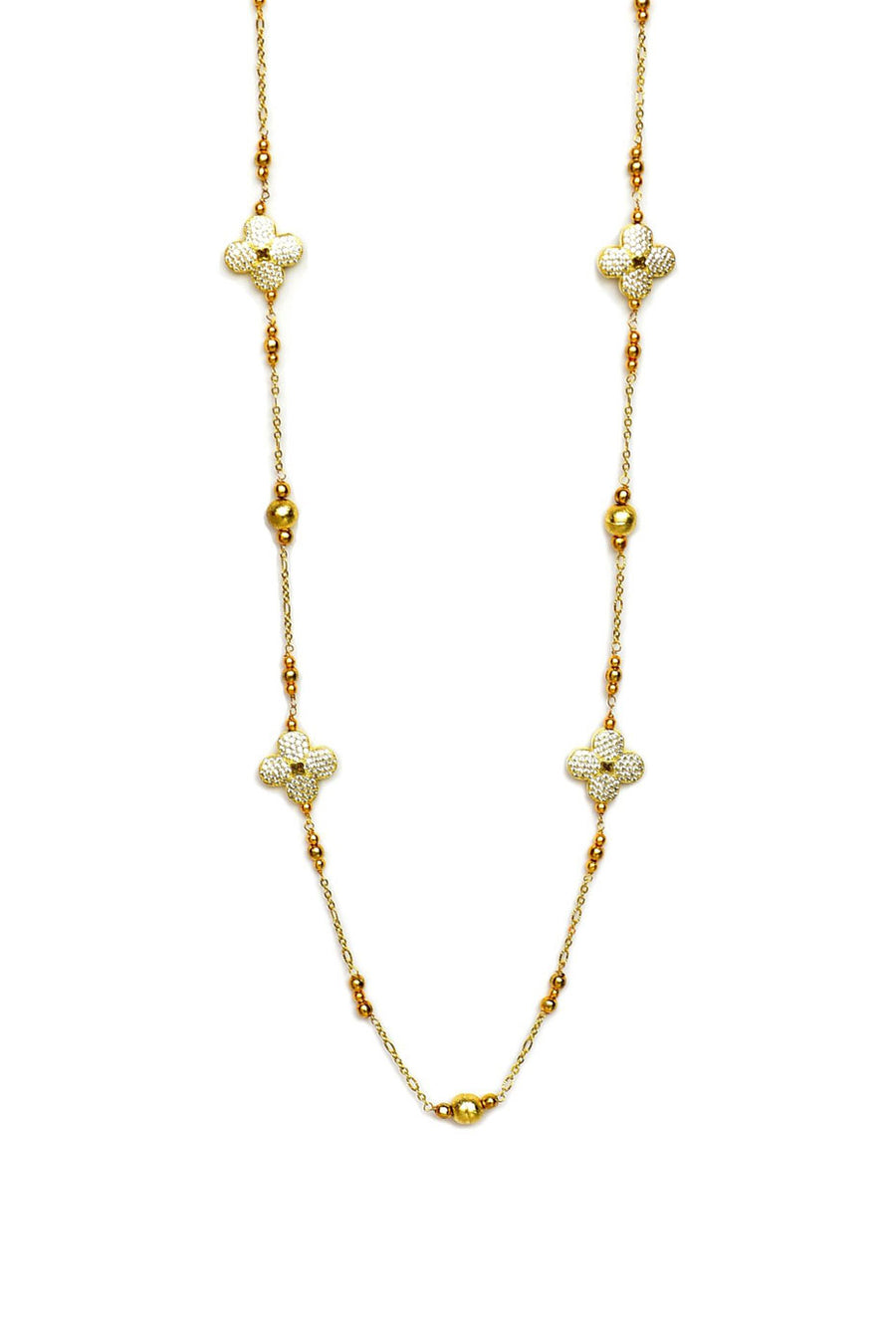 Floral Cubic Zirconia Necklace Gold Finish
