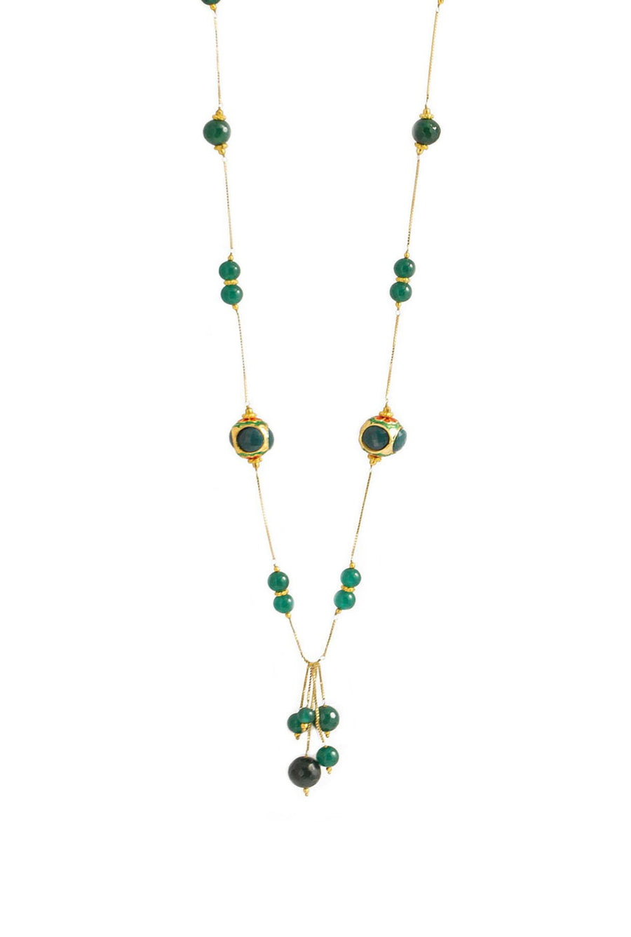 Handcrafted 'Caged' Bead Tassel Necklace with Quartz Green Finish
