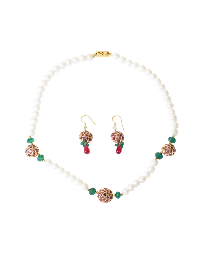 Silver Gold Leafed Necklace and Earrings with Pearl