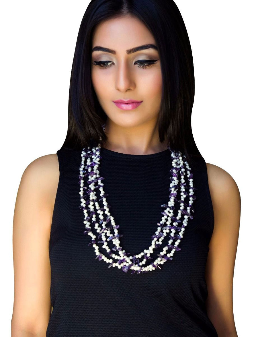 Pearl Necklace With Amethyst