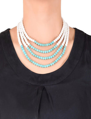 Layered pearl and turquoise necklace