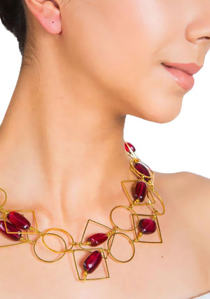 Liana Long Necklace - Tumble Loop Geometric
