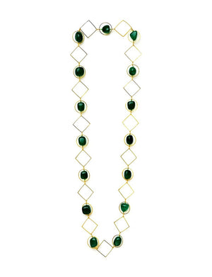 18kt Gold Plated Geometric Necklace with Onyx Or Cubic Zirconia