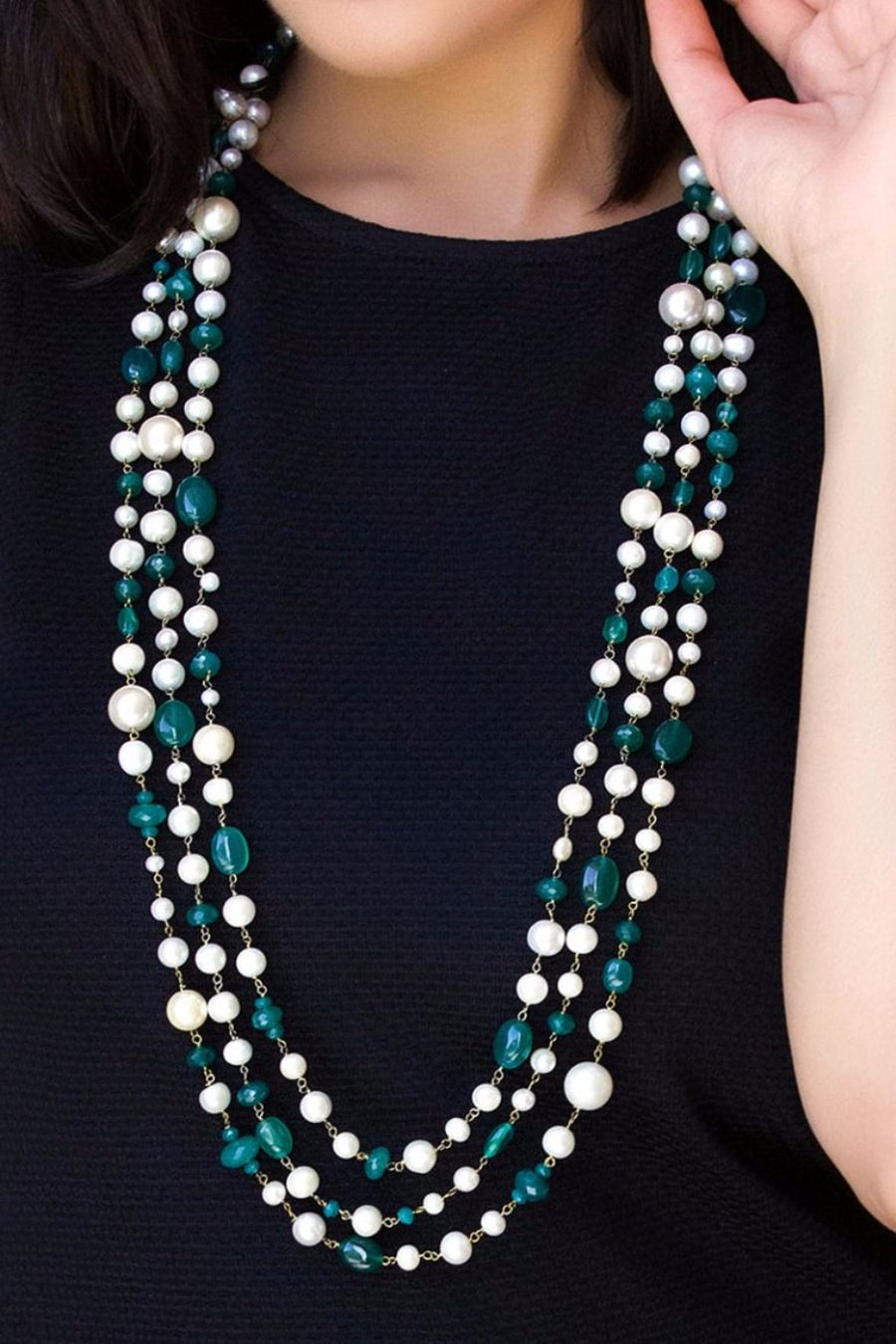 Majestic Pearl Necklace With Onyx  Lifestyle
