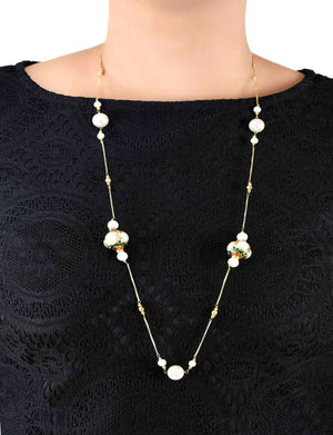 Silver Gold Plated Handcrafted 'Caged' Bead Long Necklace with Fresh Water Pearls