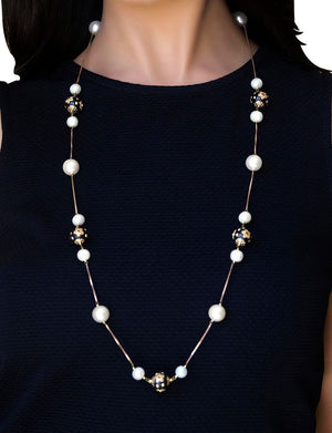 Silver Gold Plated Handcrafted Embossed Flower Bead Long Necklace with Pearl