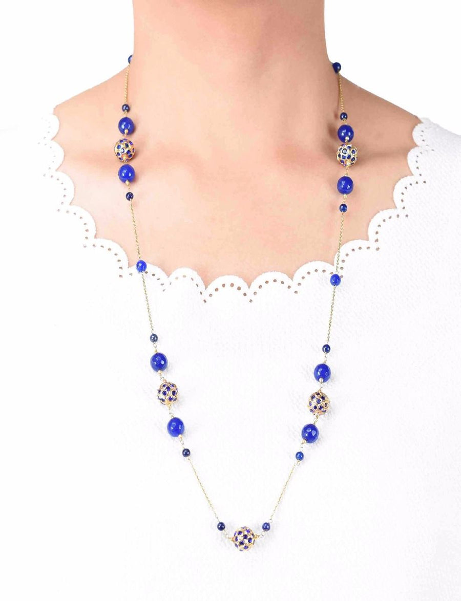 Silver Gold Plated Handcrafted Filigree Ball Bead Long Necklace with Lapis Lazuli