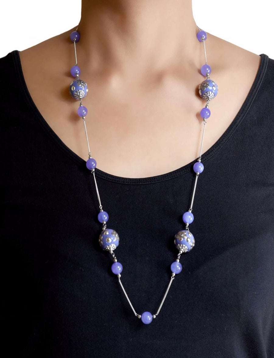 925 Sterling Silver Handcrafted Embossed Flower Bead Long Necklacewith Amethyst/Chalcedony