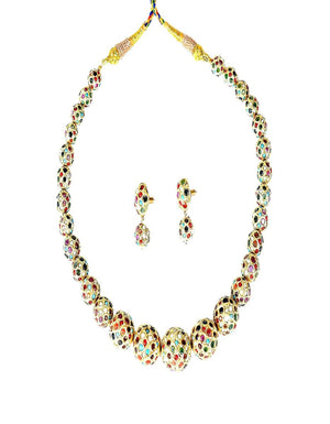 Gold-tone Necklace and Earrings With Graduating  Filigree Beads