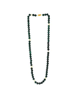 Long Necklace with Faceted Green Agate