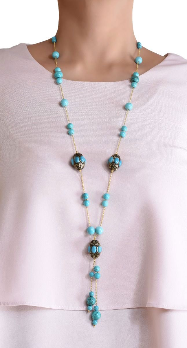 Silver Gold Palated Handcrafted Barrel Bead Long Tassel Necklace with Turquoise or Quartz or Onyx