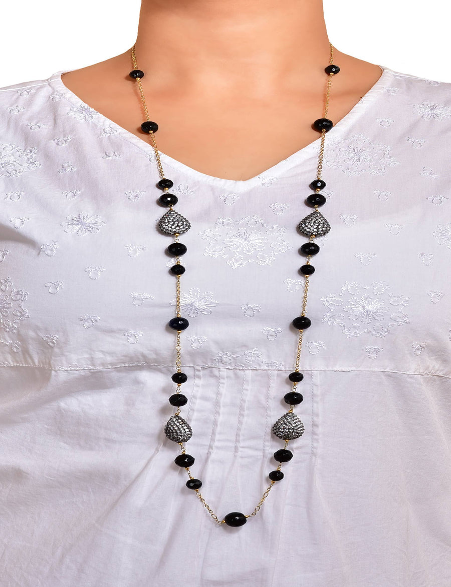 Silver Gold Plated Drop Cubic Zirconia Long Necklace With Onyx
