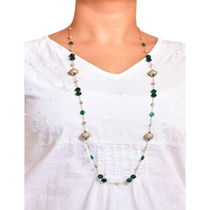 Silver Gold Plated Crystal Chain Cubic Zirconia Ball Long Necklace With Green Onyx & Agate (G)