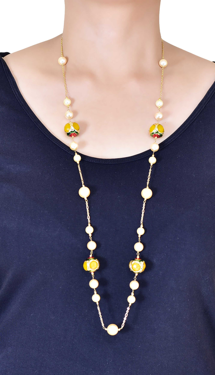 Silver Gold Plated Handcrafted 'Caged' Bead Long Necklace with Shell Pearls