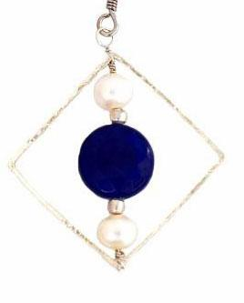 18kt Gold Plated Blue & White Geometric Necklace with Pearl and Quartz