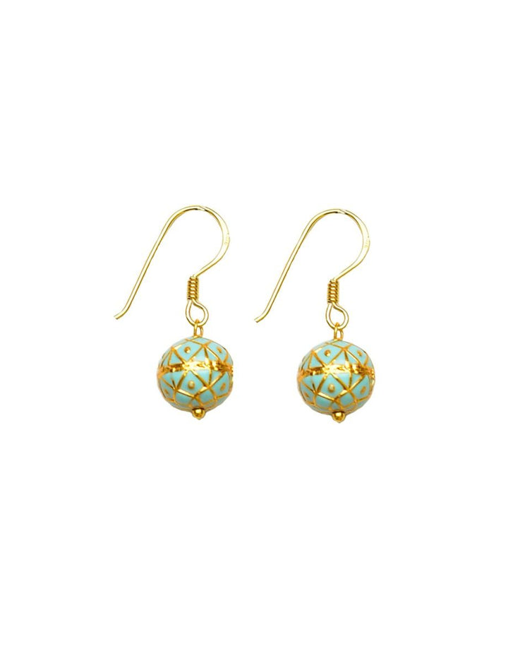Silver Gold Plated Turquoise Painted Enamel Meena Earrings