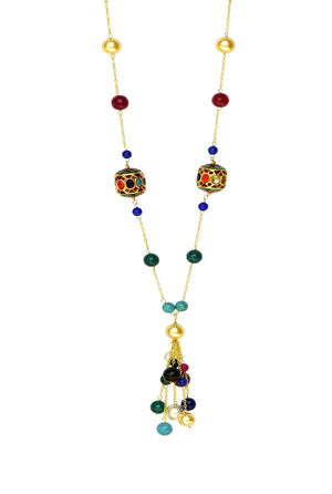 Lina Tassel Necklace - Handcrafted Multicolor 'Dumroo' Bead & Semi-Precious Stones