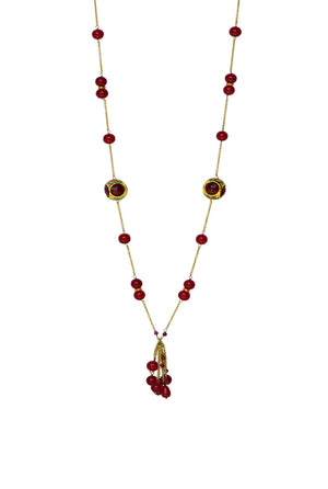 Handcrafted 'Caged' Bead Tassel Necklace with Quartz Red Finish