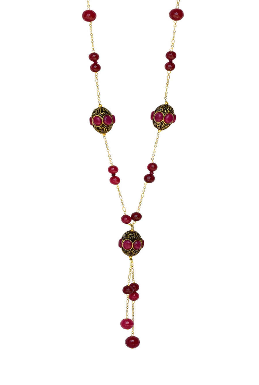 Handcrafted Barrel Bead Tassel Necklace Red Finish