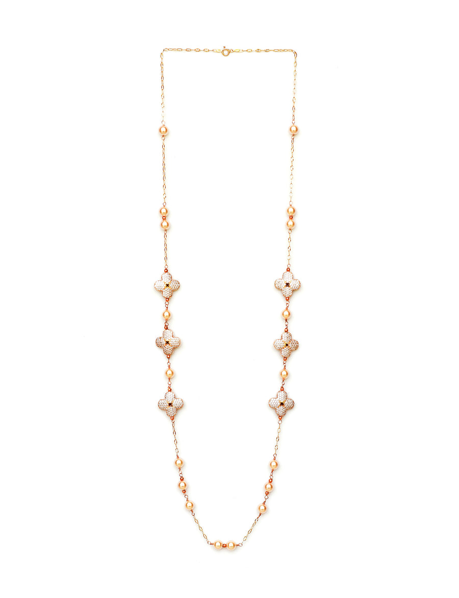 Floral Pearl Necklace Rose Gold