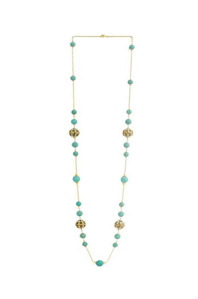 Enamel Meena and Turquoise Necklace