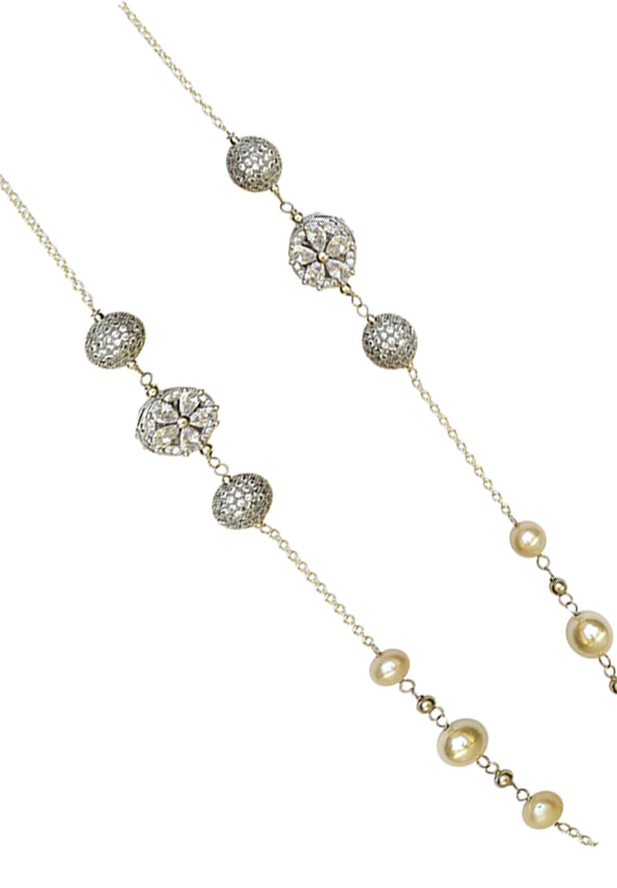 Embedded Flower and Ball Cubic Zirconia Pearl Necklace
