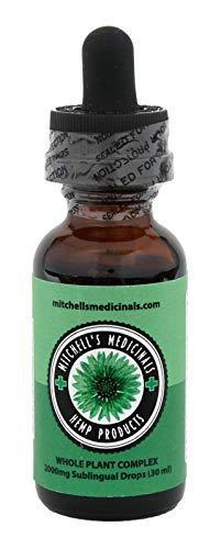 Hemp Extract Oil with Turmeric 2000mg, 30ml (Mitchell's Medicinals) for Pain, Anxiety & Stress Relief, Whole Plant Complex