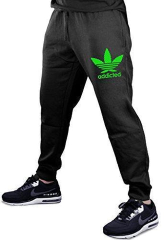Cannabis Leaf Addicted V355 Men's Black Fleece Gym Jogger Sweatpants