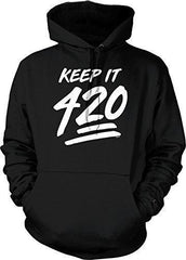 NOFO Clothing Co Keep It 420, 4:20, Four Twenty Hooded Sweatshirt, S Black