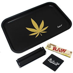 "Full Size Rolling Tray Bundle – 12"" x 8"" Tray + 110mm Rolling Machine + King Size Raw Rolling Papers – Lionhead (Black)"