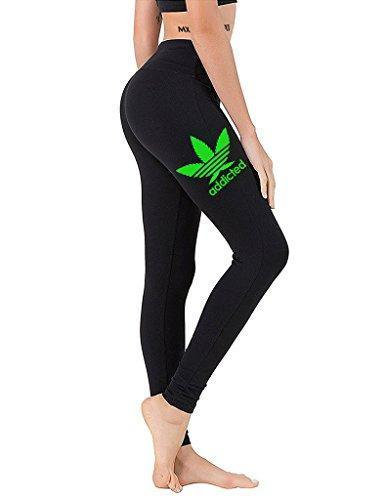 Junior's Addicted Weed Leaf V355 Black Athletic Workout Leggings One Size Fit Most