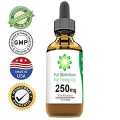 Full Spectrum Hemp Oil for Dogs and Cats (250mg) - Grown & Made in USA - Supports Hip & Joint Health, Natural Relief for Pain, Separation Anxiety - Organic Extract - Non-GMO