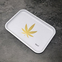 "Full Size Rolling Tray Bundle – 12"" x 8"" Tray + 110mm Rolling Machine + King Size Raw Rolling Papers – Lionhead (White)"
