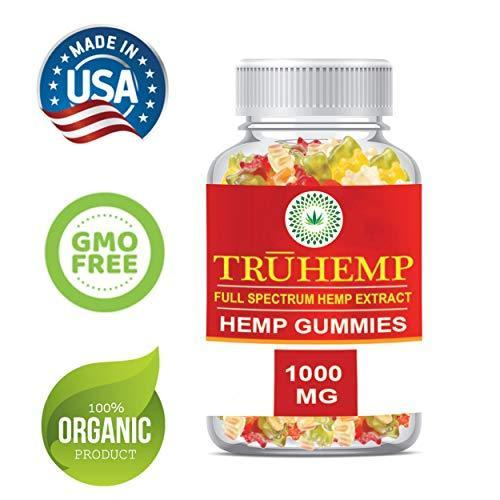 TRUHEMP Full Spectrum Hemp Extract Gummy Bear - Safe and Organic - Made in USA - 1000MG Total, 10MG Each - Great for Skin, Relaxing, Pain, Stress & Anxiety Relief