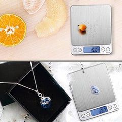 AMIR Digital Kitchen Scale, 500g/ 0.01g Mini Pocket Jewelry Scale, Cooking Food Scale with Back-Lit LCD Display, 2 Trays, 6 Units, Auto Off, Tare, PCS Function, Stainless Steel, Batteries Included