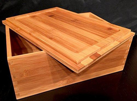 Blake & Lake Wood Stash Box with Rolling Tray - Wood Stash Box w/Storage - Rolling Tray Stash Box - Premium Quality Dovetail Design Discrete Wooden Stash Boxes (Natural)