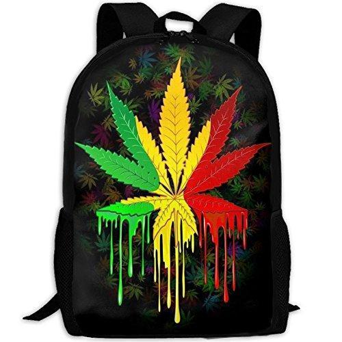 Green Yellow Red Leaf Weed Interest Print Custom Unique Casual Backpack School Bag Travel Daypack Gift