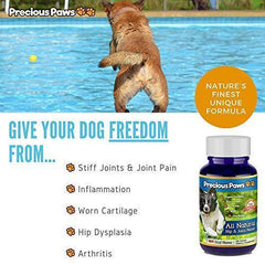 All Natural Hip & Joint Pain Relief for Dogs Arthritis & Inflammation, for Mobility & Hip Dysplasia, Glucosamine, Turmeric, Boswellia, MSM & Chondroitin. 120 Beef Treats