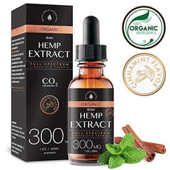 Organic Hemp Oil Extract for Pain & Stress Relief (300MG), Cinnamint Flavor, Full Spectrum, Blended with Organic Hemp Seed Oil for Optimal Absorption, CO2 Cold Extracted, Kosher, Non-GMO, 1oz.
