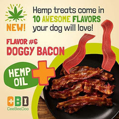 CeeBeeDoo Dog Treats with Hemp Oil for Pain Relief & Anxiety – Healthy & Tasty Hemp Treats for Dogs – Natural Pet Hemp Chews Dog Calming Treats for Small & Large Dogs, (Doggy Bacon)